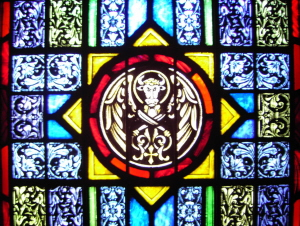 Stained Glass Window of Evangelist's Symbol for Luke - St. Ignatius Parish, San Francisco