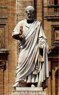 Statue of St. Peter holding a key and a scroll [in front of St. Peter's Basilica in Rome; by Giuseppe de Fabris, 1860]